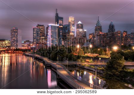 Philadelphia, Pa, Usa - November 2, 2018: Philadelphia Skyline At Night With Urban Architecture.