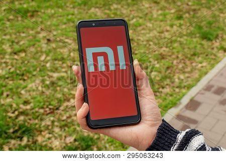 Ukraine, Kremenchug - April, 2019: Xiaomi Mi Logo On Smartphone Screen.
