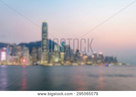 Out Of Focus Of  Hong Kong Skyline On The Evening Seen From Kowloon, Hong Kong, China.