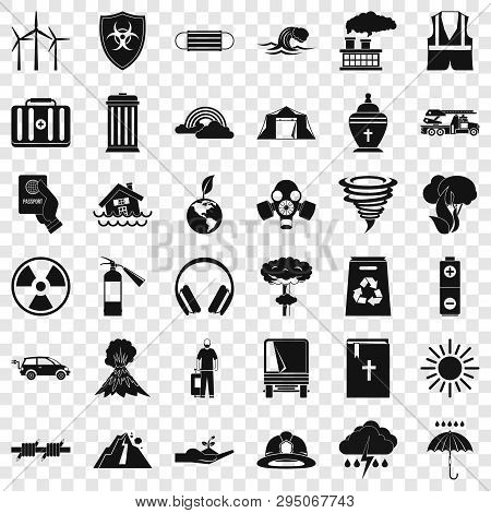 Natural Disaster Icons Set. Simple Style Of 36 Natural Disaster Vector Icons For Web For Any Design