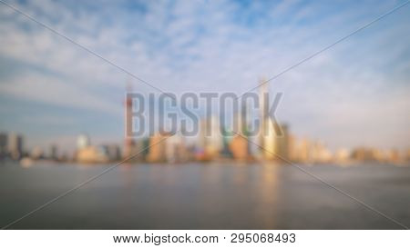 Out Of Focus Of Shanghai City Skyline Pudong Side Looking Through Huangpu River On A Sunny Day. Shan