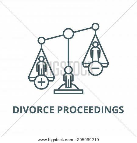 Divorce Proceedings Line Icon, Vector. Divorce Proceedings Outline Sign, Concept Symbol, Flat Illust