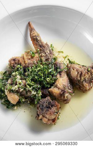Portuguese Spicy Marinated Deep Fried Chicken Frango A Passarinho Traditional Tapas Dish With Garlic