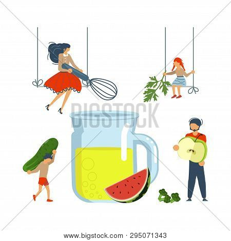 Culinary Art And Cooking Poster. Happy Family Cooking Together A Healthy Green Smoothie Concept. Dad