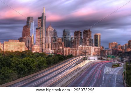 Philadelphia, Pa - June 5: View Of Downtown Philadelphia And Schuylkill Expressway After Sunset From