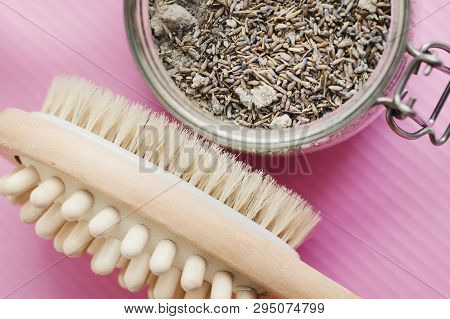 Wooden Brush With Natural Bristle And Body Scrub With Lavender And Salt. Cellulite Treatment. Massag