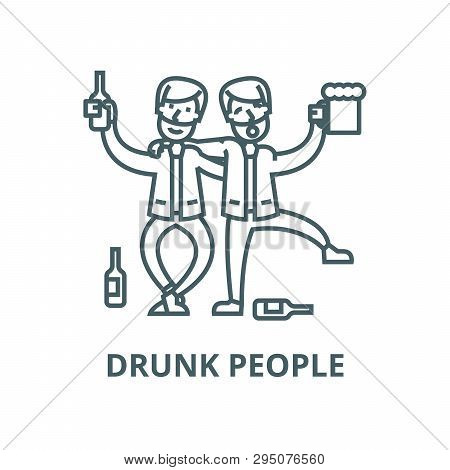 Drunk People, Drunk Party, Two Men Drinking Line Icon, Vector. Drunk People, Drunk Party, Two Men Dr