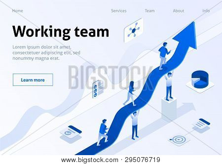 Working Team Metaphor Business Isometric Banner. Teamwork Success Concept. Group Of Employee Support