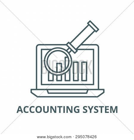 Electronic Accounting System Line Icon, Vector. Electronic Accounting System Outline Sign, Concept S