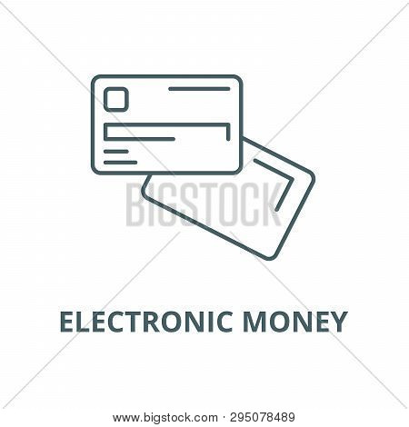 Electronic Money Line Icon, Vector. Electronic Money Outline Sign, Concept Symbol, Flat Illustration