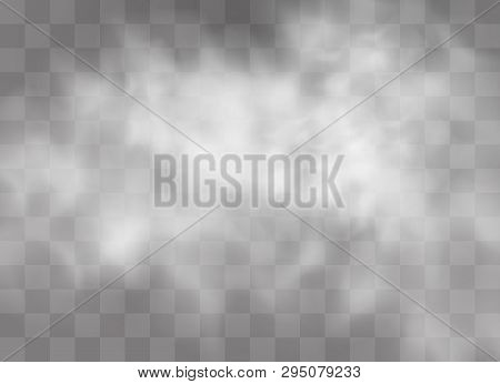 Transparent Special Effect Stands Out With Fog Or Smoke. White Cloud Vector, Fog Or Smog. Vector Ill
