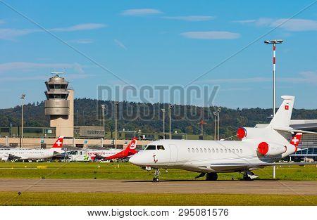 Kloten, Switzerland - September 29, 2016: View At Zurich Airport. Zurich Airport, Also Known As Klot