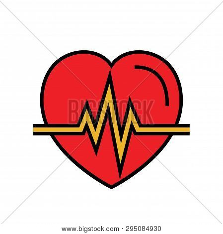 Heartbeat Icon. Automated External Defibrillator Symbol. Simple Vector Graphic