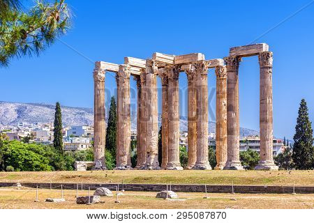 Temple Of Olympian Zeus, Athens, Greece. It Is One Of The Top Landmarks Of Athens. Famous Ancient Gr
