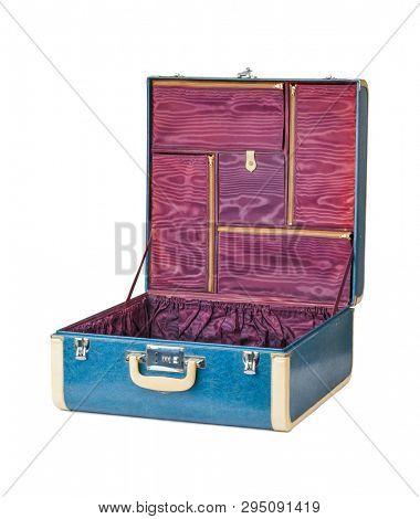 Vintage travel suitcase isolated on white background poster