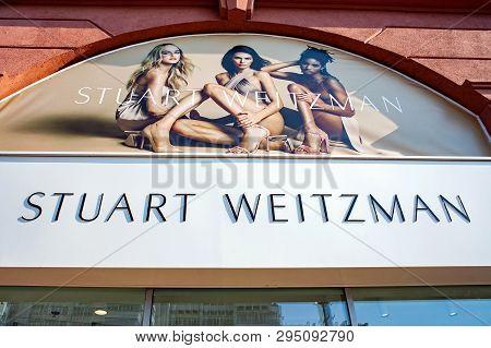 Minsk, Belarus - April 6, 2019: A Sign Outside The Stuart Weitzman Store
