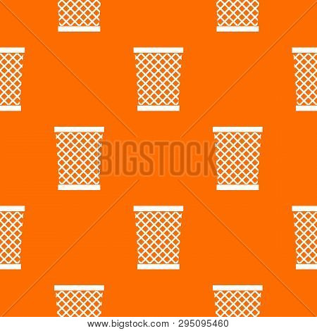 Wastepaper Basket Pattern Repeat Seamless In Orange Color For Any Design. Geometric Illustration