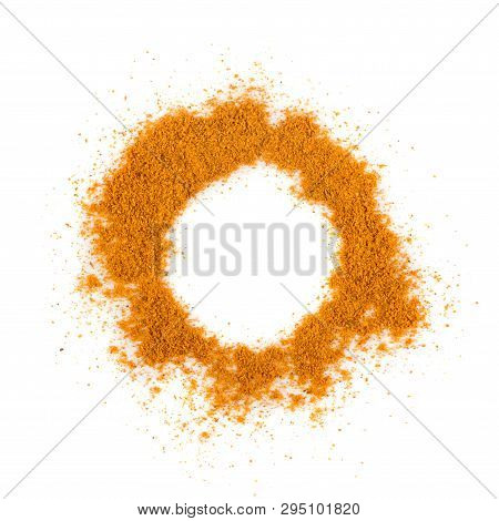 Mixture Of Indian Spices And Herbs Powders Isolated