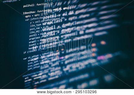 Developer Programming Code. Abstract Computer Script Code. Programming Code Screen Of Software Devel