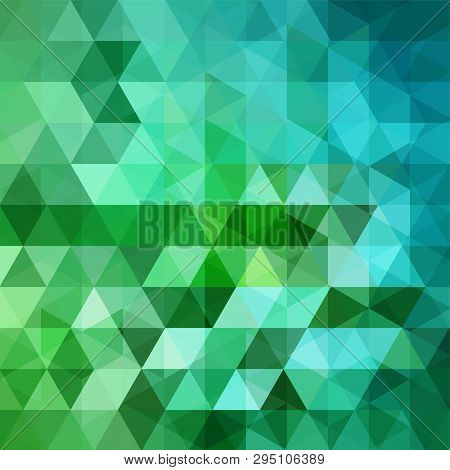 Background Made Of Green Blue Triangles. Square Composition With Geometric Shapes. Eps 10