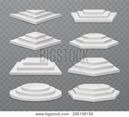 Winner White Podiums Or Exhibition Pedestals, Three-stepped  Scenes. Set Of Round, Square, Trihedron