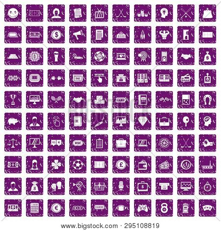 100 Sweepstakes Icons Set In Grunge Style Purple Color Isolated On White Background Illustration