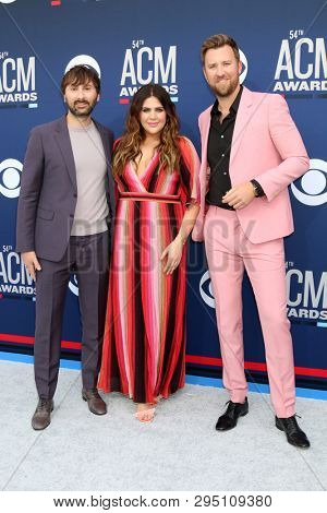 LAS VEGAS - APR 7:  Dave Haywood, Hillary Scott, Charles Kelley at the 54th Academy of Country Music Awards at the MGM Grand Garden Arena on April 7, 2019 in Las Vegas, NV