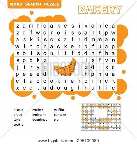 Search Words Game. Educational Children Activity With Sweets And Bakery Products. Cartoon Illustrati