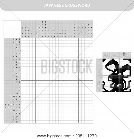 Mouse. Black And White Japanese Crossword With Answer. Nonogram With Answer. Graphic Crossword. Puzz