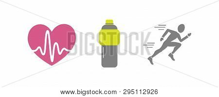 Vector Set Of Running Sport Icons - Jogging Person, Beating Heart With Pusle, Bottle Of Isotonic Or