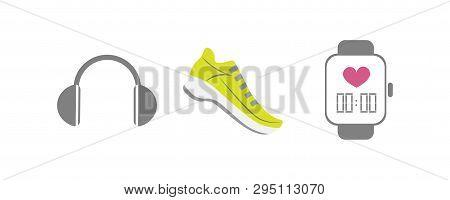 Vector Set Of Running Sport Icons - Running Shoe, Smart Watch, Wireless Earphones - For Sport Team,