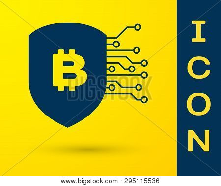 Blue Shield With Bitcoin Icon Isolated On Yellow Background. Cryptocurrency Mining, Blockchain Techn
