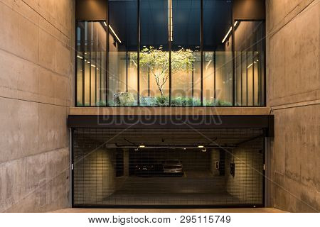 Seattle, Washington, Usa - October 18, 2019: A Tree In An Interior Garden Over A Garage In A Buildin