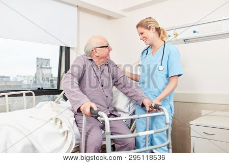 Nurse cares about disabled senior man with walker