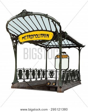 Entrance To The Subway, In The Style Of Art Deco Isolated On White. Clipping Path Included.