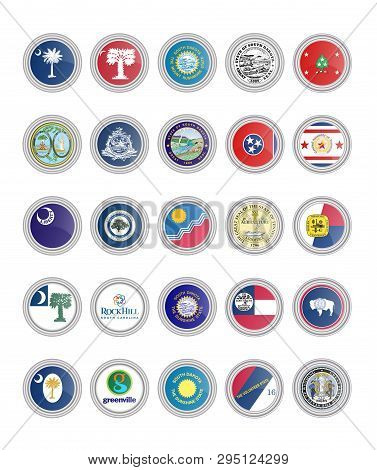 Set Of Vector Icons. Flags And Seals Of South Carolina, South Dakota, Tennessee And Wyoming States,