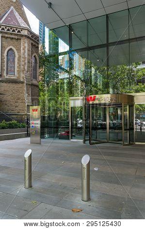 Melbourne, Australia - December 8, 2016: Westpac Bank Branch Building Exterior With Glass Door Entra