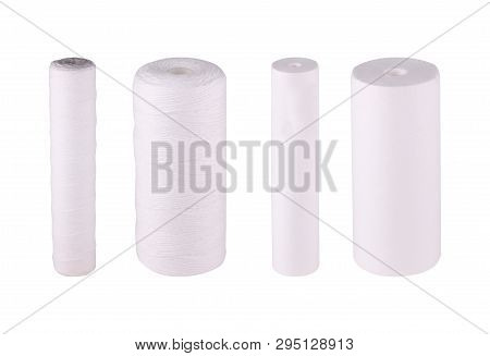 Set Filters Isolated White Background. Cartridges Multifilament Polypropylene Yarn. Mechanical Water