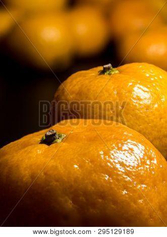 Glossy Surface Texture Of Freshness Orange Fruits
