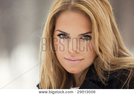 Outdoor Winter Portrait Of Blond Young Woman