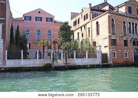 Venice Venezia Italy 2019 March City View From Ship. Renaissance Buildings In Sea