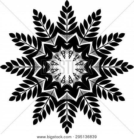 Black Mandala. Isolated Vector Mandala Flower. Snowflake. Sacred Geometry Pinterest. Big Flower
