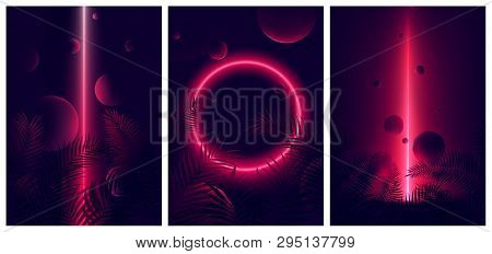 Glowing Line Red Neon Reflex On Tropical Leaves And Spheres, Futuristic Gradient Glow On Dark Backgr