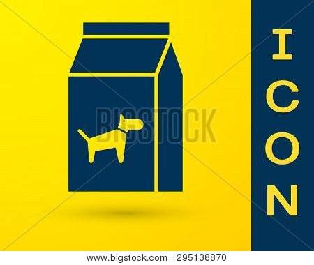 Blue Bag Of Food For Dog Icon Isolated On Yellow Background. Food For Animals. Pet Food Package. Vec