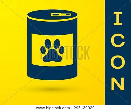 Blue Canned Food Icon Isolated On Yellow Background. Food For Animals. Pet Food Can. Dog Or Cat Paw