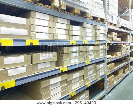 Image Of Stock Inventory Shelf, Stack Of Carton Boxes, Modern Logistics Smart Warehouse Management.