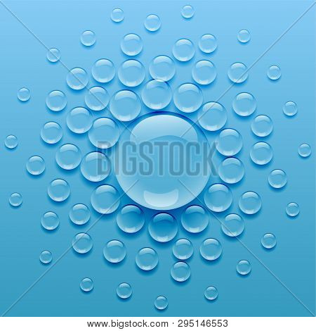 Water Droplets On Blue Background Vector Illustration