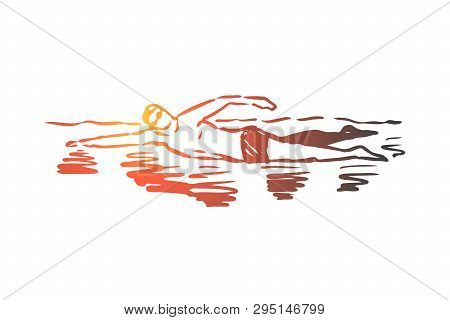 Swimming, Pool, Sport, Water, Swimmer Concept. Hand Drawn Man Swimming In Pool. Professional Swimmer