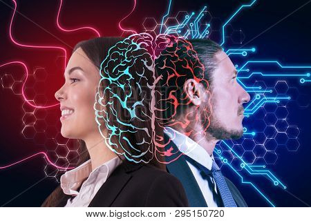 Side Portrait Of Happy Businessman And Woman With Digital Brain. Ai And Machine Learning Concept. Do