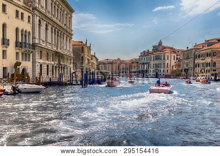 Venice, Italy - April 29: Scenic Architecture Along The Grand Canal In San Marco District Of Venice,